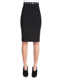 Grommet Trimmed Pencil Skirt