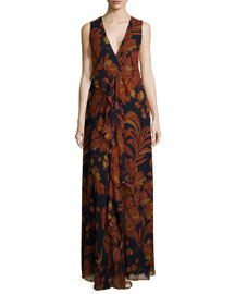 Floral-Print Cascading Ruffle Gown