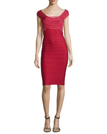 Striped Scoop-Neck Bandage Dress, Lipstick Red