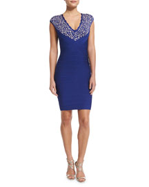 Floral-Lace V-Neck Bandage Dress, Blue Sapphire