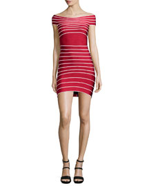 Micro-Striped Bandage Dress, Lipstick Red