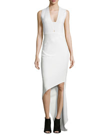 Sleeveless V-Neck Asymmetric Dress