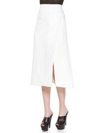 Side-Slit Scuba Crepe Midi Skirt