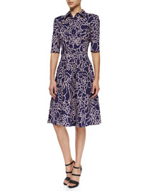 Half-Sleeve Floral-Print Stretch-Cotton Shirtdress, Navy