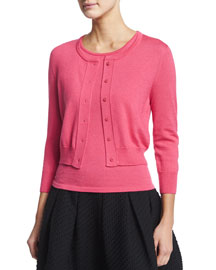 Knit Cashmere/Silk Bolero Cardigan, Amaranth