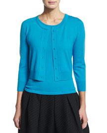 Knit Cashmere/Silk Bolero Cardigan, Ocean
