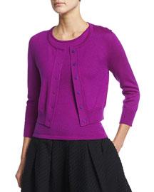Knit Cashmere/Silk Bolero Cardigan, Ultraviolet
