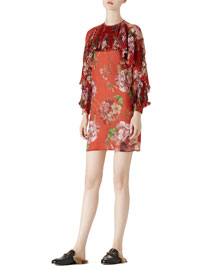 Geranium Print Silk Georgette Dress
