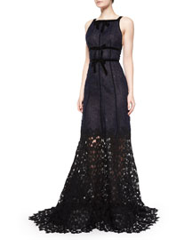 Sleeveless Double-Bow Gown W/Lace Hem, Navy