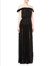 Off-The-Shoulder Velvet-Stripe Gown, Black