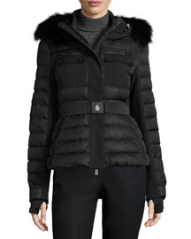 Besse Quilted Down Coat w/Fur Hood, Black