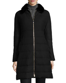 Cawl Quilted Wool Coat w/Mink Fur Collar, Black