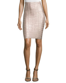 Metallic Bandage Pencil Skirt