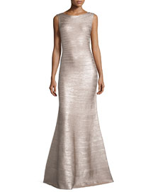 Scoop-Back Flared Bandage Gown