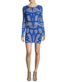 Long-Sleeve Short Jacquard Dress, Blue