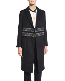 Paillette-Embellished Cashmere Coat, Black