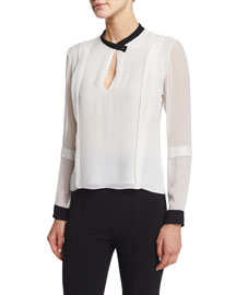 Bicolor Silk Georgette Top, Black/White