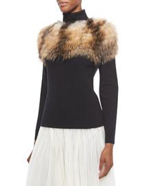 Fox Fur-Trimmed Turtleneck Sweater