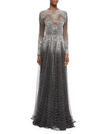 Long-Sleeve Metallic Wave Gown