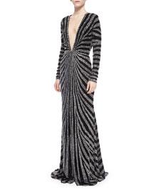 Long-Sleeve Beaded Kimono Gown