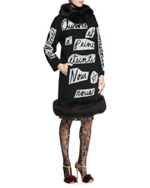 Fur-Trimmed Crystal-Script Coat, Black