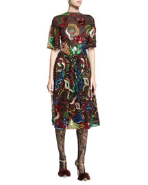 Sequined Sheer Half-Sleeve Dress, Multi