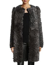 Classic Curly Shearling Fur Coat, Gray