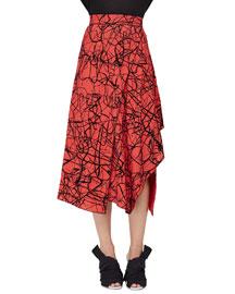 Scribble-Print High-Waist Skirt, Crimson/Black