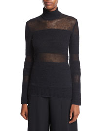 Woven Mesh Turtleneck Sweater, Black