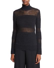 Woven Mesh Turtleneck Sweater, Black