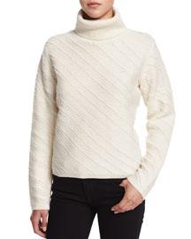 Bias-Striped Jacquard Turtleneck Sweater, Off White