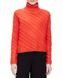 Diagonal-Striped Jacquard Turtleneck Sweater, Crimson