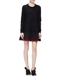 Needle-Punch Spray Hem Sweater Dress, Black/Red