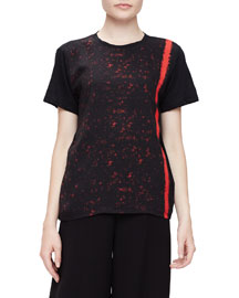 Printed Georgette Short-Sleeve Tee, Black/Crimson