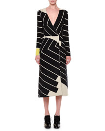 Asymmetric Striped Faux-Wrap Dress