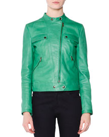 Asymmetric-Zip Leather Moto Jacket, Grass