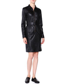 Faux-Leather Zip-Front Shirtdress, Black