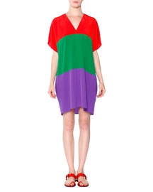 Short-Sleeve Colorblock Silk Tunic/Dress