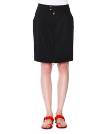 Tabbed Front-Zip Pencil Skirt