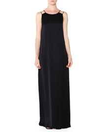 Sleeveless Fluid Maxi Dress, Black