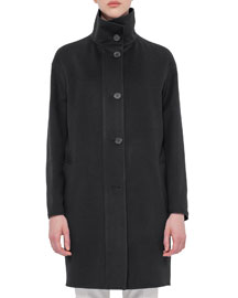 Reversible High-Neck Wool Coat, Black