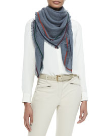 Multicolor Contrast-Trimmed Square Cashmere Scarf