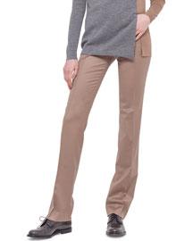 Francoise Straight-Leg Gabardine Pants, Camel