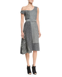 Patchwork Off-the-Shoulder Dress, Gray