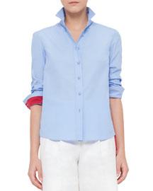 Colorblock Cotton Button-Down Shirt, Sky Blue/Cherry
