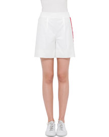 Single-Waist Shorts w/Side Stripe, Cream/Cherry