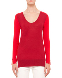 Colorblock Long-Sleeve Scoop-Neck Sweater, Sport Red/Cherry