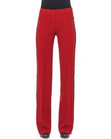 Wide-Leg Pants W/Contrast Stripe, Cherry