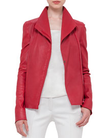 Long-Sleeve Stretch-Leather Jacket, Cherry
