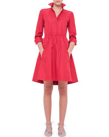 Long-Sleeve Drawstring-Waist Shirtdress, Cherry
